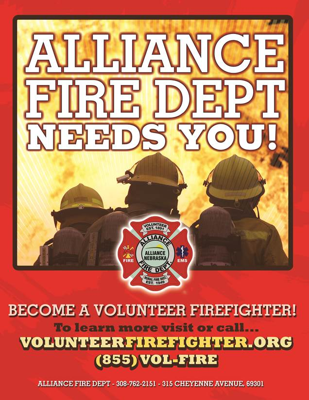 Alliance Volunteer Firefighters and EMTs Wanted Flyer (PDF)